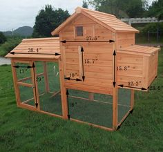 """Deluxe Wood Chicken Coop Poultry Hen House with Run Backyard and Nesting Box"" - everything all in one (coop, nesting, yard, etc.)!"