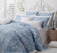 Logan and Mason Ultima Jordana Double Bed Quilt Cover Set Blue