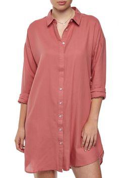 Long sleeve pink shirt dress