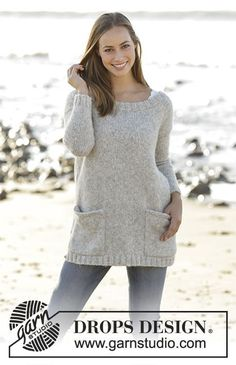Evening Promenade Jumper with pockets by DROPS Design Free Knitting Pattern - Knitting Patterns Jumper Patterns, Sweater Knitting Patterns, Knitting Stitches, Knit Patterns, Free Knitting, Sweaters Knitted, Oversized Sweaters, Finger Knitting, Drops Design