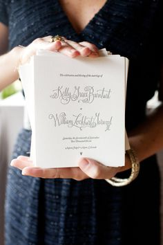 fun calligraphy on these programs  Photography by perezweddings.com, Planning, Floral   Event Design by toddevents.com