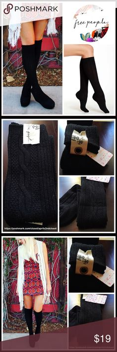 FREE PEOPLE Tall Cozy Boot Socks 💟NEW WITH TAGS💟  FREE PEOPLE Tall Cozy Boot Socks   * Knee high length  * Comfy, stretch-to-fit style  * Super soft fabric   * Ribbed stay-up cuff   * One size fits many, approx shoe sizes 5-10  * Allover cable knit texture Fabric- Acrylic, polyester, nylon, 20% wool, 1% spandex  Color- BLACK   Item# #  🚫No Trades🚫 ✅ Offers Considered*✅ *Please use the blue 'offer' button to submit an offer Free People Accessories Hosiery & Socks