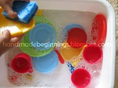 handmade beginnings: Sensory Bin: Kitchen Duty