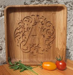 Personalized Wood Oak Custom Engraved Plate, Dish, Bowl - Wedding, Housewarming, Anniversary Gift, Home Decor, Kitchen table Decor