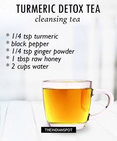 Detox is the best way to cleanse our system completely. Our body collects a whole lot of toxins, thanks to junk food, water, unhygienic food, fat etc. Eliminating the toxins from our body has never… Detox is the best way to clea Turmeric Detox, Turmeric Drink, Turmeric Recipes, Tumeric Tea Recipe, Turmeric Smoothie, Healthy Detox, Healthy Drinks, Vegan Detox, Healthy Juices