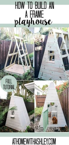 DIY A Frame Play House. This outdoor playhouse is easy and cheap to make and is perfect for boys or girls. How to build a backyard playhouse for kids that is simple with cute decor. My toddler loves this space to play! Click through for th Outside Playhouse, Backyard Playhouse, Build A Playhouse, Simple Playhouse, Toddler Outdoor Playhouse, Playhouse For Kids, Treehouse Kids, Playhouse Decor, Pallet Playhouse