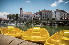 Yellow pedal boats in the city of Tomar - Portugal