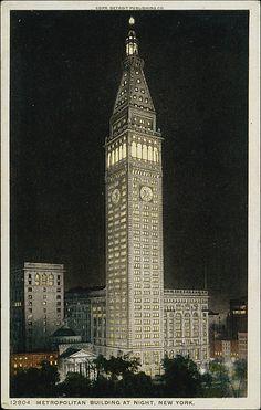 Detroit Publishing Company (American). Metropolitan Building at Night, New York, 1908–1909. The Metropolitan Museum of Art, New York. The Jefferson R. Burdick Collection, Gift of Jefferson R. Burdick (Burdick 416, p.52v(2)) #newyork #nyc