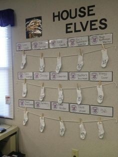 Ms. Brown's Harry Potter themed job chart. Each sock has the child's assigned number that is hung underneath the job they are to do for the week. Every Monday the jobs switch.