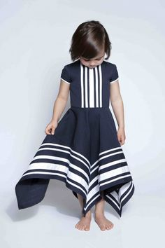 Graphic, beautiful navy blue and white striped dress #designer #kids #fashion