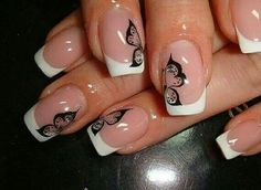 Unique french manicure designs pink black New ideas Nail Art Design Gallery, Best Nail Art Designs, Short Nail Designs, French Manicure Nails, French Manicure Designs, French Nails, Manicure Ideas, Butterfly Nail Art, Boxing Day