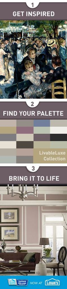 """HGTV HOME™ by Sherwin-Williams is now at Lowe's! Bring room-to-room harmony to your home with 16 designer-inspired HGTV HOME™ by Sherwin-Williams Color Collections, like this """"Livable Luxe"""" palette. Create with confidence as you choose from 20 color samples in each collection that work together in any combination."""