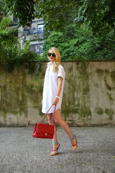 These colorful sandals are amazing, and they really pump up a white shirt dress. Plus the gold cuff is such a great accessory.