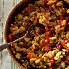 Partytime Beans Recipe -A friend brought this colorful bean dish to my house for a church circle potluck dinner. As soon as I tasted the slightly sweet slow-cooked beans, I had to have the recipe. I've served the beans and shared the recipe many times since. —Jean Cantner, Boston, Virginia