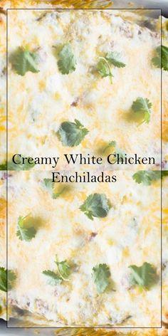 >>Click here<< Creamy White Chicken Enchiladas #yummy #food Mexican Food Recipes, Keto Recipes, Cooking Recipes, Healthy Recipes, Eat More Chicken, Cooking Chicken To Shred, Enchilada Ingredients, White Chicken Enchiladas, Sunday Recipes