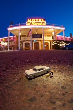 http://www.unpetitmonde.net/route-66.html miniature figures in real world settings photography and this was taken at a famous hotel in my home town.