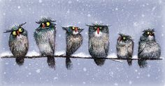 owls in the snow (artist unknown)