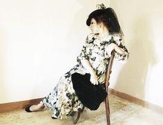 Birds and Fresia polka dot cantonier, Alice J velvet bag, chrisitan louboutin shoes and vintage dress