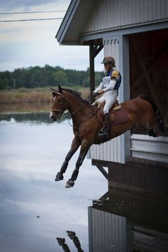 Eventing ... cross-country obstacle, jumping out of a house into a pond.