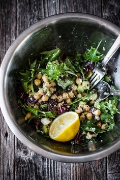 Chickpea Lentil Salad with Shallot White Wine Vinaigrette | edibleperspective.com