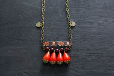 Ethnic Vintage Tin Bar Necklace