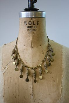 vintage brass coin bib necklace / 1970s brass necklace / deco brass necklace
