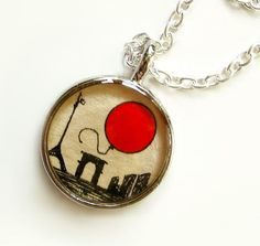 Le Ballon Rouge --Hand Painted Necklace Charm, The Red Balloon, Original Wearable Art Pendant from TuckooandMooCow on etsy.com