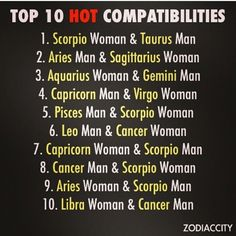 Zodiac. I'm Scorpio but I'll be more happy to have a number 5 relation rather than 1st one.
