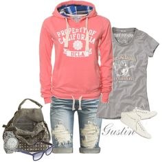shorts and sweatshirt, created by stacy-gustin.polyvore.com