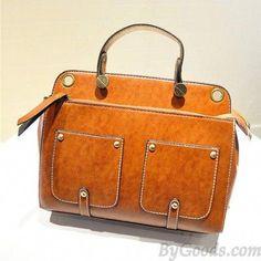 c4c135c73d  lt 3 Orange-Brown Vintage Shoulder Bag with Strapped Pockets