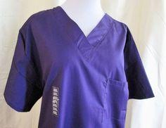 Scrubstation USA Womens Scrub Top 2X Purple 1 Front pocket Polyester Blend #ScrubstationUSA