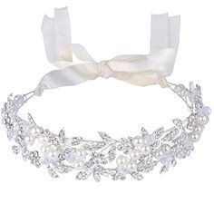 BriLove Women's Bohemian Crystal Ivory Color Simulated Pearl Bib Ribbon Tie Bendable Hair Band Silver-Tone