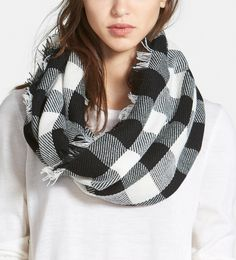 Crushing on this black and white plaid infinity scarf.