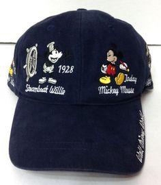 Disney World MICKEY MOUSE CHARACTER ART HISTORY HAT Relaxed Navy-Blue  Men Women  Disney  BaseballCap 1efcc692ef6c