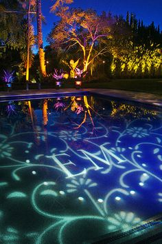 Cool example of GOBO lighitng on the surface of a swimming pool at a wedding reception. www.djboogieshoes.com