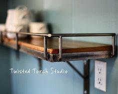 Cedar and steel kitchen shelf!  Visit stonecountyironworks.com for more amazing wrought iron designs!
