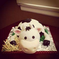 Cow themed Happy Birthday Smash Cake