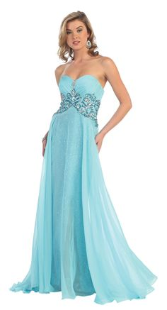 This long strapless sweetheart neckline gown is great for any prom or homecoming. The bust is pleated with jewels and beading along the waistline. This first layer of the skirt shimmers and is fitted. Backless Prom Dresses, Prom Party Dresses, Homecoming Dresses, Strapless Dress Formal, Fancy Dress, Graduation Dresses Long, Sweetheart Prom Dress, Ball Gown Dresses, Moda Fashion