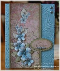 handmade card: Your Birthday ... Heartfelt Creations ... by rosekathleen ... soft blues and mauve ... die cut and shaped flowers on matching paper ... leafy embossing fold texture on card base ... luv it!