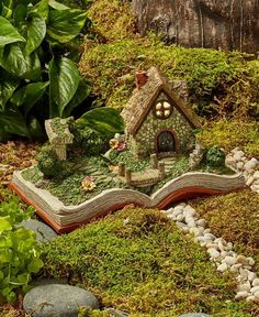 Solar Lighted Open Storybook Fairy Garden House