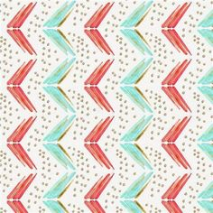Coral and Teal Chevron Fabric by the Yard   Coral Fabric   Carousel Designs