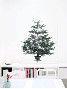 Du hast eine kleine Wohnung, möchtest aber trotzdem nicht auf einen Weihnachtsbaum verzichten? Ein Christbaum auf Stoff tut es genauso! Einfach Lichterketten und weitere Deko mit Sicherheitsnadeln dranhängen, und schon wirkt die Wohnung schön weihnachtlich!