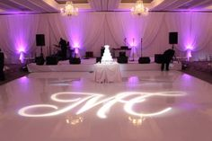 Drape, Monogram, Uplighting and a White Vinyl Dance Floor for a Four Seasons Chicago Wedding. Wedding Reception Lighting, Rustic Wedding Venues, Event Lighting, Wedding Ceremony, Our Wedding, Dream Wedding, Luxury Wedding, Wedding Costs, Wedding Prep