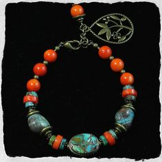 Bead Kits and Jewellery - Himalayan Inspired Turquoise, Coral and Brass Bracelet, $85.00…