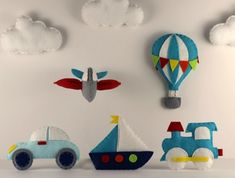 Transportation Pattern Set - Includes Car, Train, Plane, Hot Air Balloon, Boat & Cloud. Create your own felt Car, Train, Plane, Hot Air Balloon, Boat & Cloud using my easy to follow, simple step by step instructions and patterns. Use for baby mobiles, ornaments, favors, toppers what ever you want...