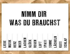 "Geschenkidee: Postkarte ""Nimm Dir was Du brauchst"" // postcard by Süße Dinge via DaWanda.com / 1,50€"