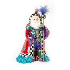 MacKenzie-Childs Glass Ornament - Peacock Santa