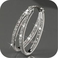 18k white gold gp genuine SWAROVSKI crystal hoop stud earrings oval hoops #EarJewellery