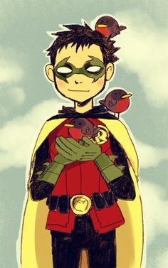 Damian Wayne taking a rare moment to NOT stab things.