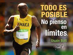 """""""Todo es posible. No pienso en límites."""" Usain Bolt #Bolt #Rio2016 #Motivacion #Inspiracion #superacion"""